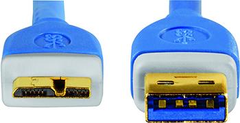 USB 3.0 A Fiş - Micro B Fiş Mavi 1.8m